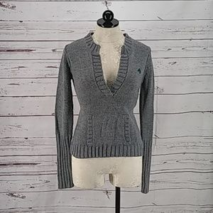 Energie Deep V neck Grey knit Sweater